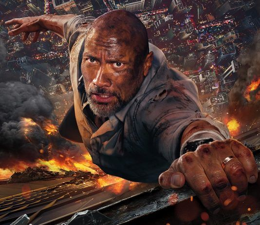 dwayne johnson fighting to live in skyscraper movie