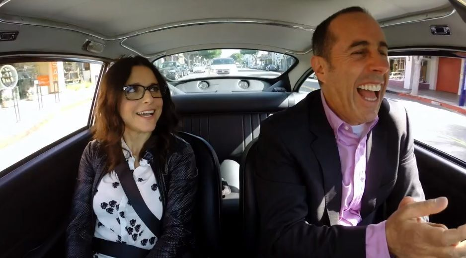 jerry seinfeld in car with julia louis dreyfuss