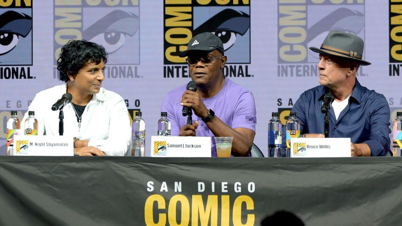 m night shyamalan samuel jackson and bruce willis for glass movie