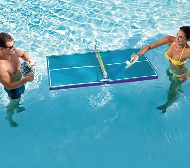 pool ping pong man woman playing