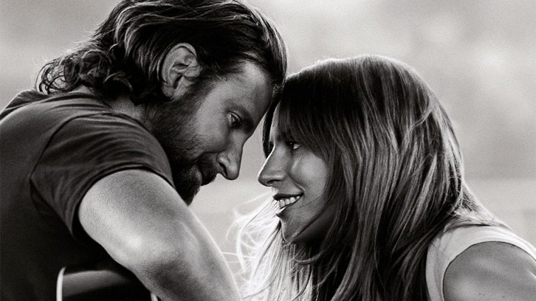 lady gaga smiles at guitar bradley cooper star is born