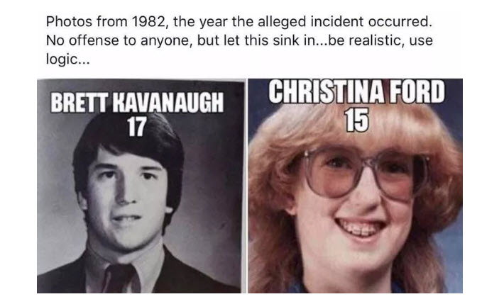 brett kavanaugh fake picture of christine blasey ford
