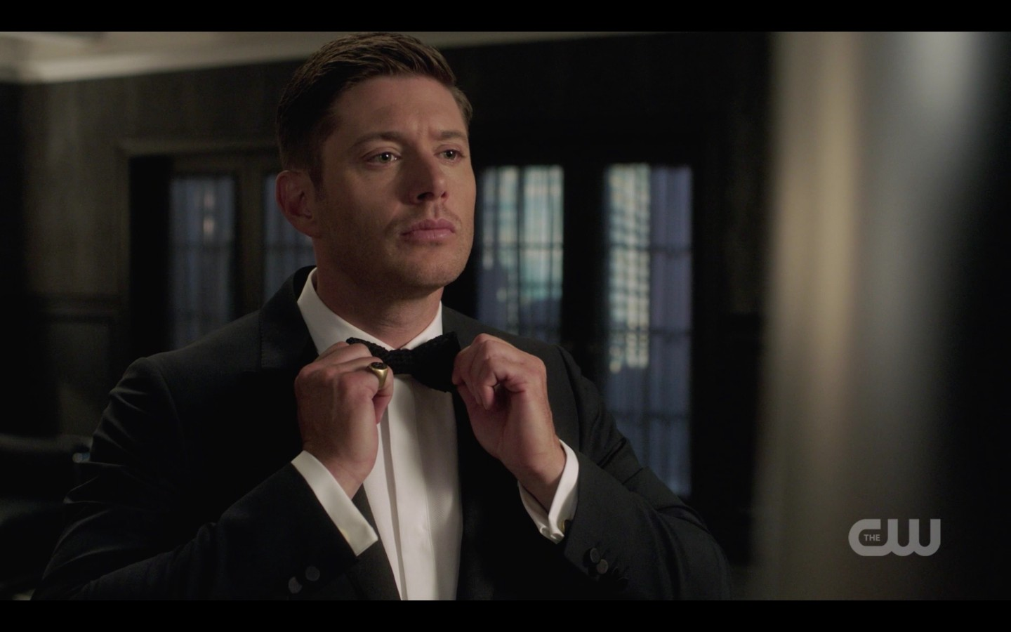 dean winchester suiting up in tux michael gods monsters