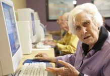 old woman trying to understand learn online slot machine games