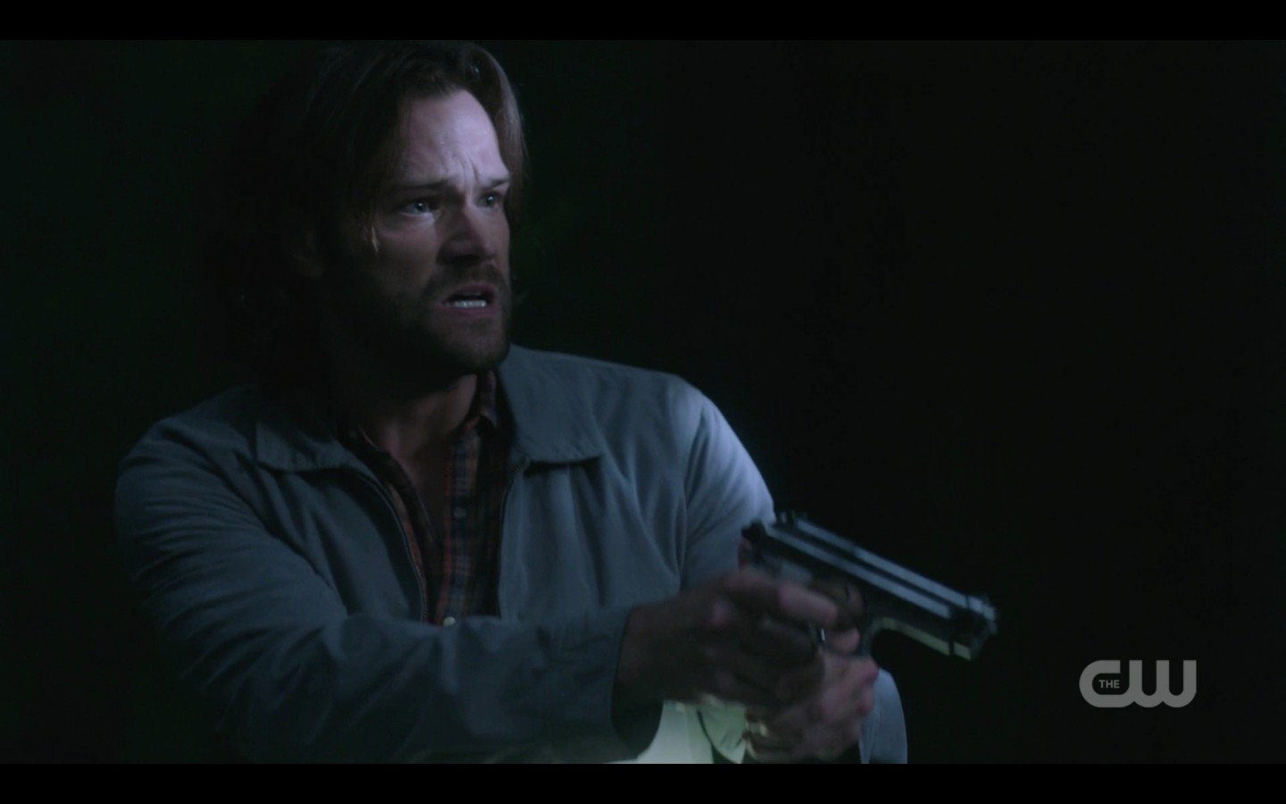 sam winchester freaked out with gun spn