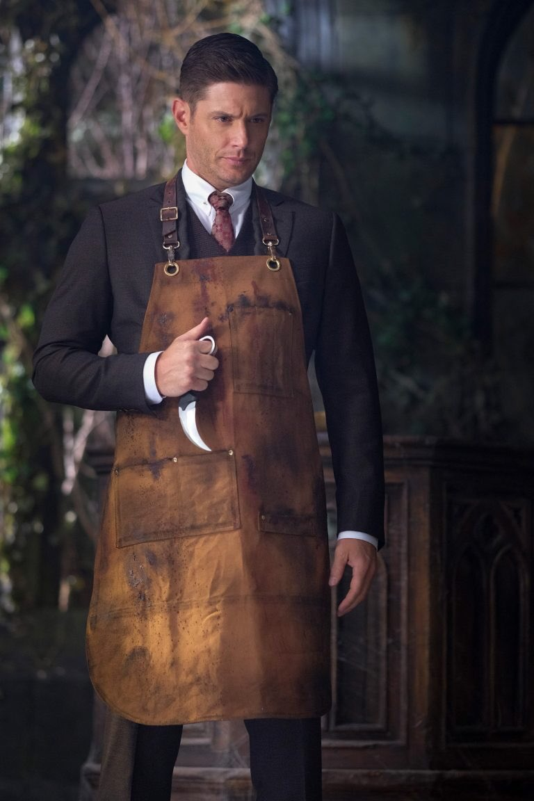 supernatural 1402 dean winchester leather brown apron with knife