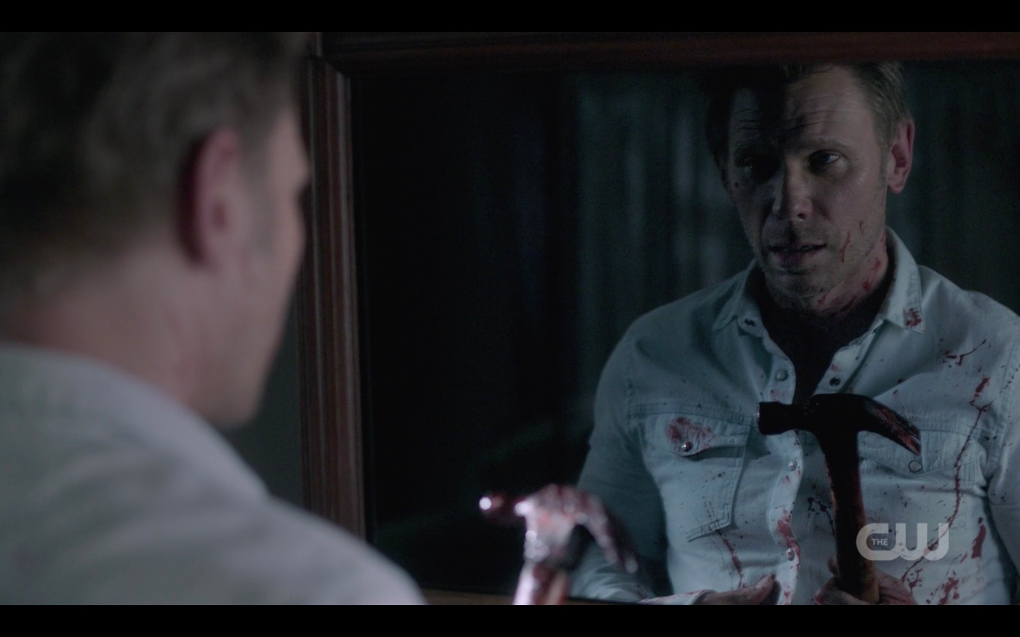 supernatural nick looks in mirror bloody with hammer 1402