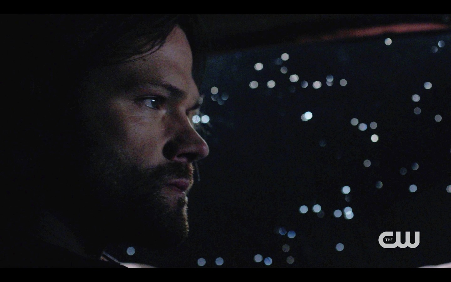supernatural sam winchester looking out at night in baby