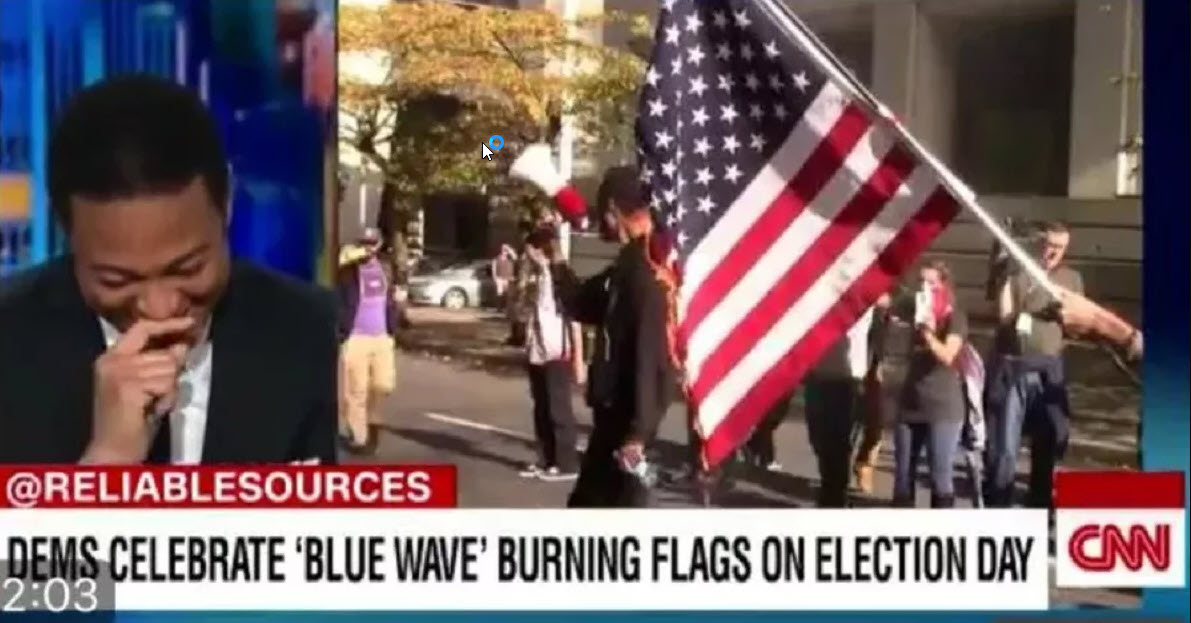 cnn don lemon laughint as american burn us flag fake news