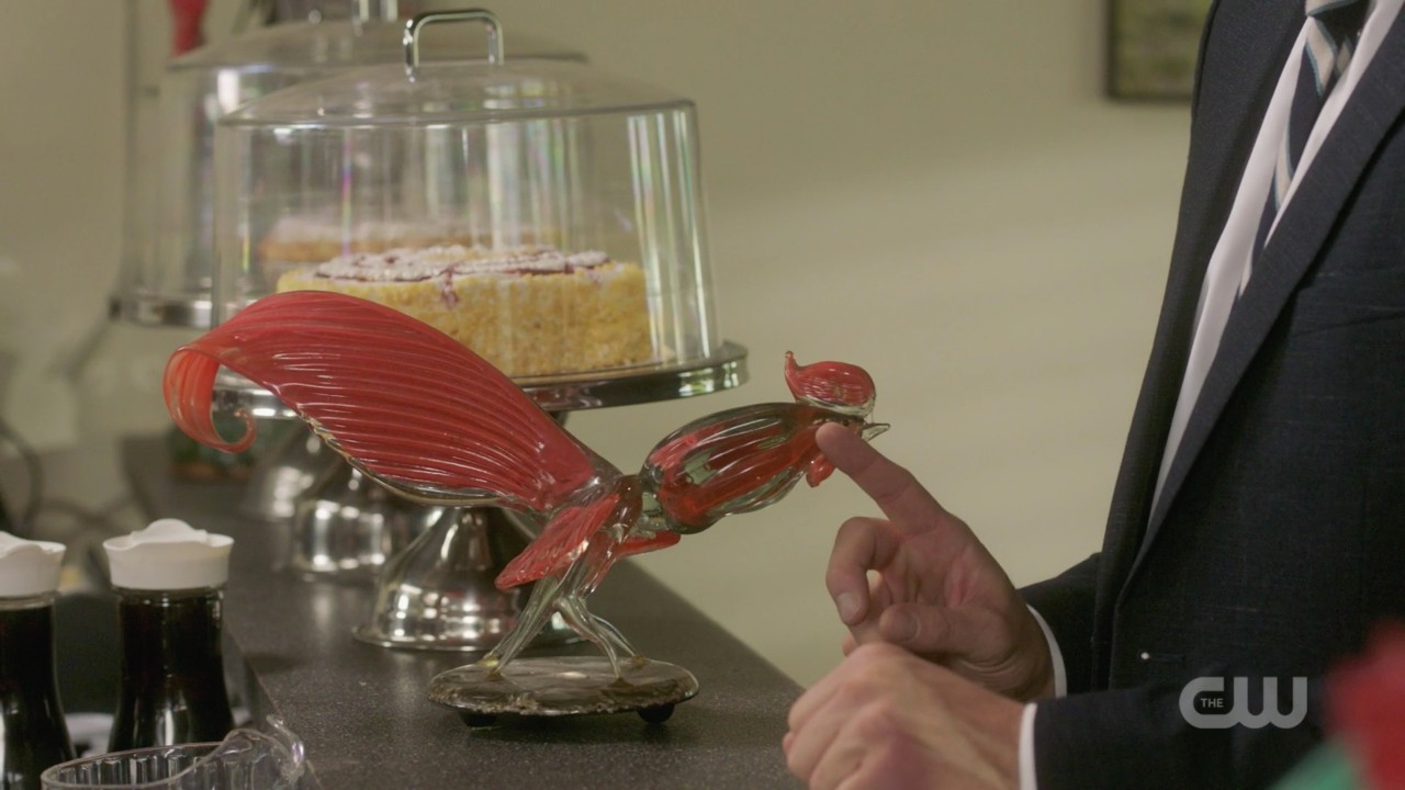 dean winchester playing with red rooster cock at counter 1406