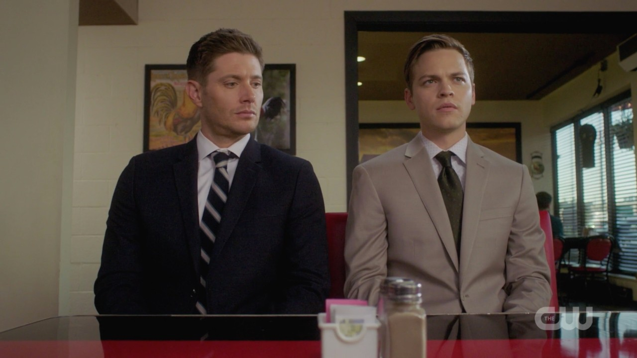 dean winchester with jack at library 1406