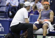 rafael nadal makes angry face at ankle injury losing atp top spot to djokovic
