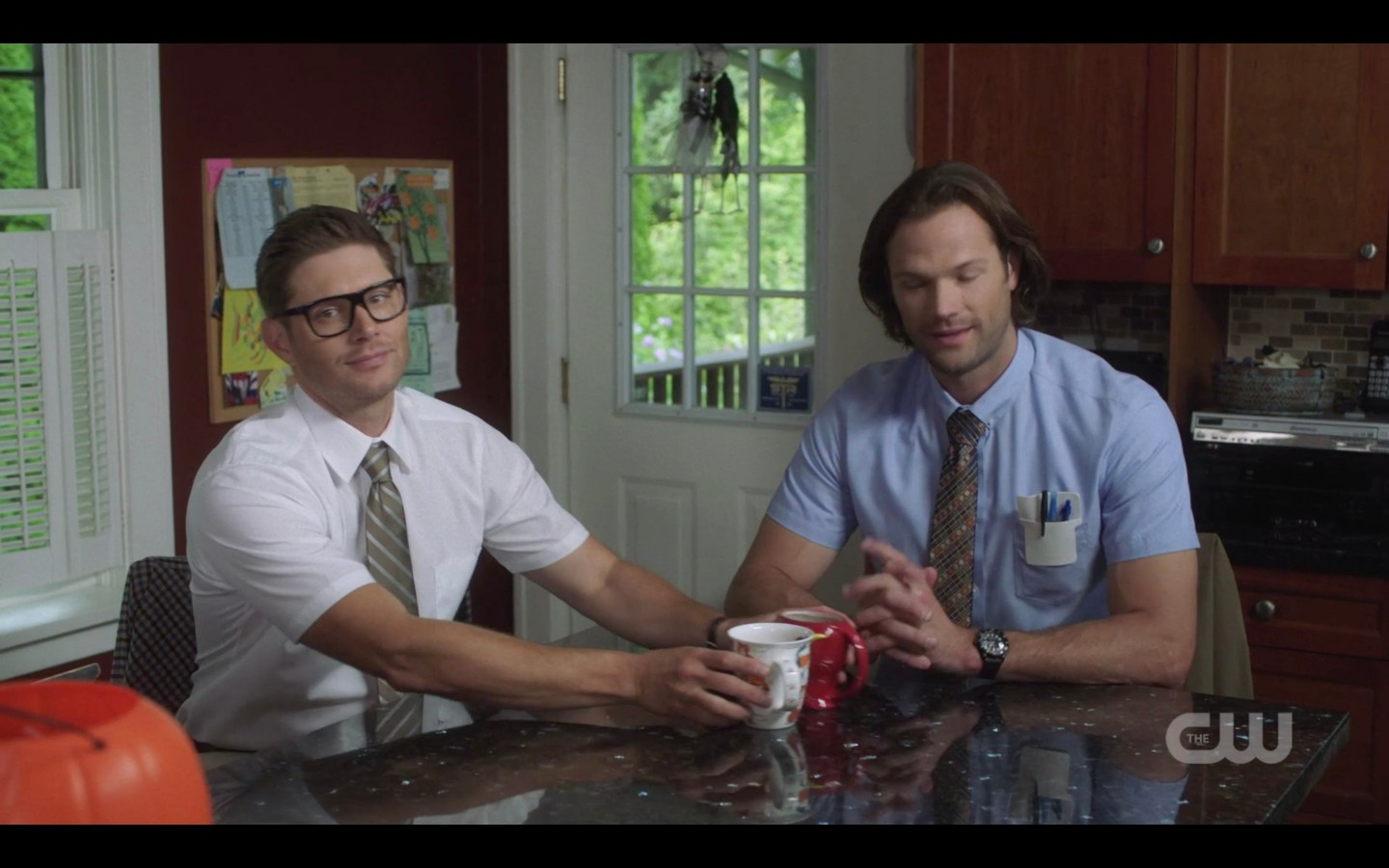 sam dean winchester in insurance geek outfit 1404
