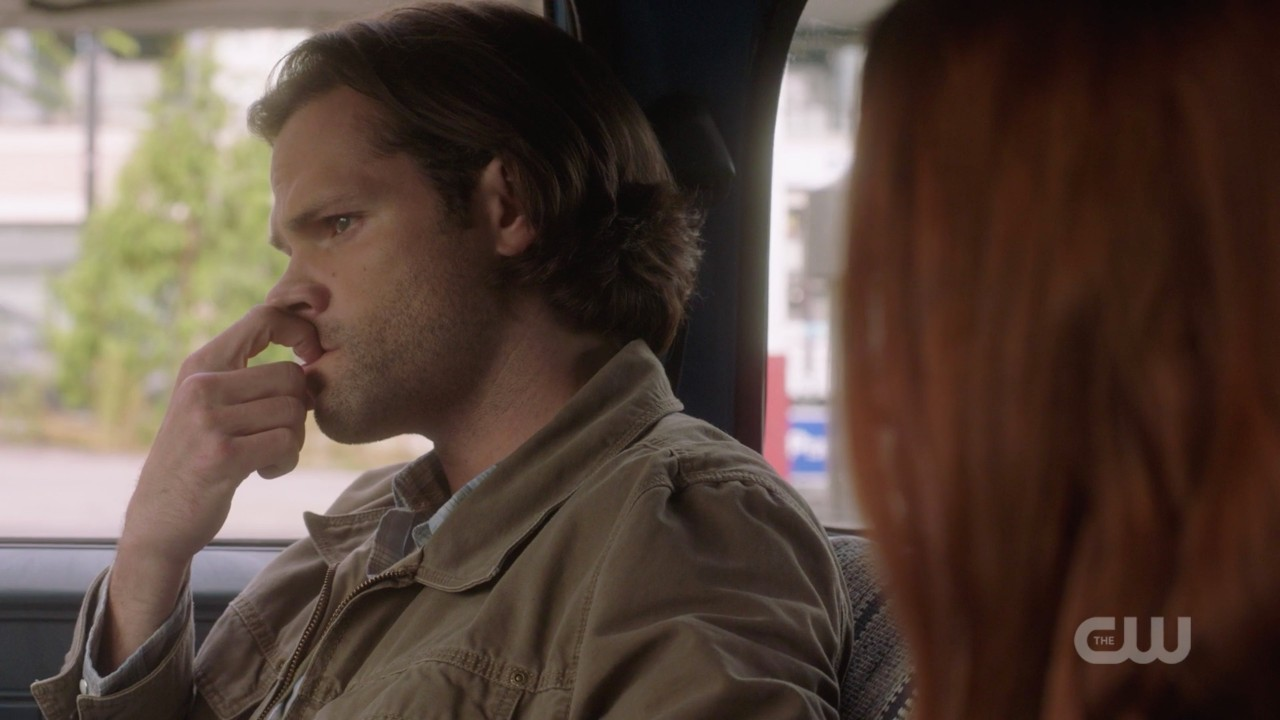 sam winchester nervously biting nails with charlie spn 1406