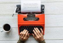 screenwriter writing a movie screenplay or watching a movie