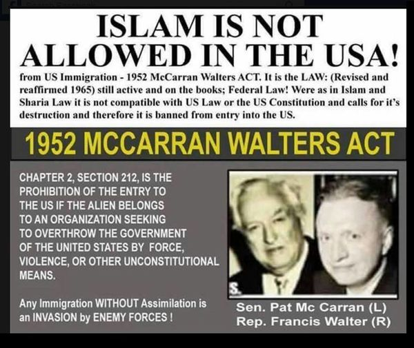 1952 mccarran walter act fake news on muslims not holding office