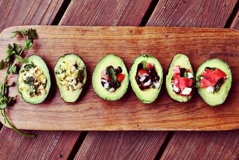avocado salads on wooden server health fitness
