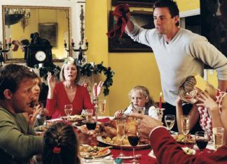 family holiday stress during dinnner with in laws
