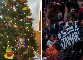 minneapolis racist christmas tree leads to 2 officers on leave