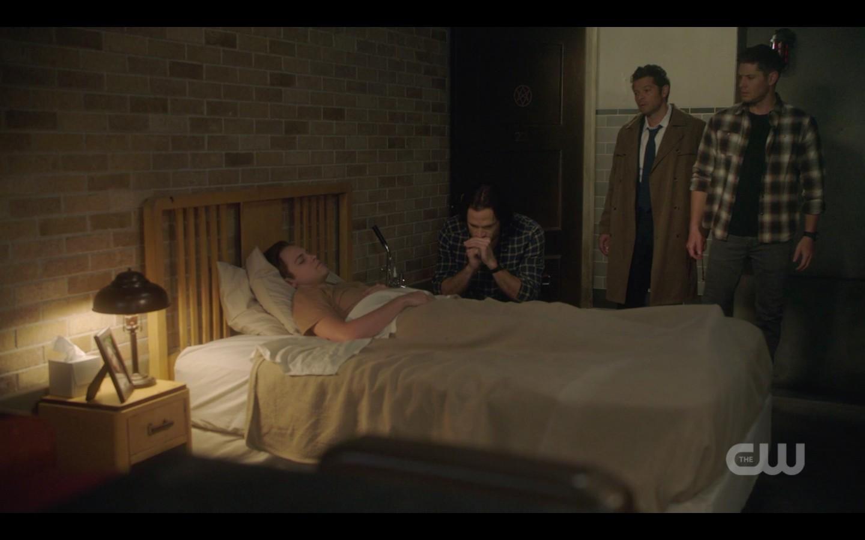 sam dean castiel with jack in bed deal spn 1408