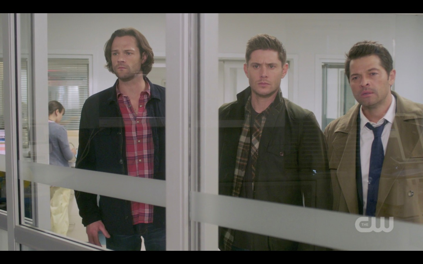sam dean winchester with castiel watching jack in er spn 1407