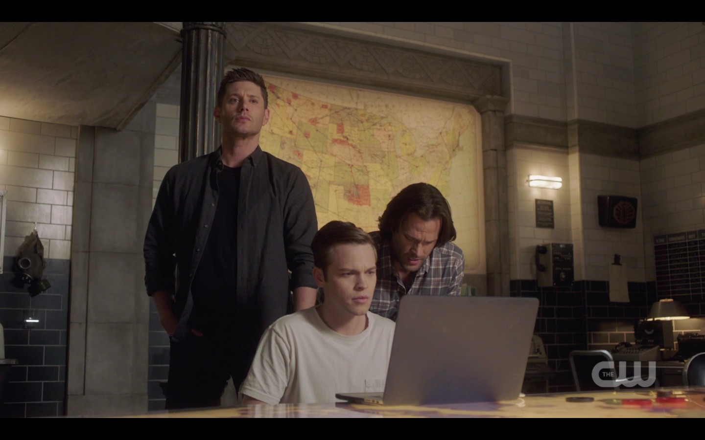 sam dean winchester with jack on laptop for ketch spn 1409
