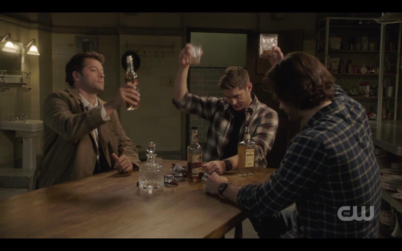 spn 1408 sam dean castiel raise drink for jack