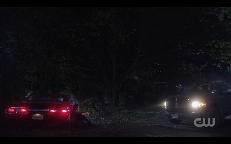 supernatural 1408 sam leaning against baby impala heartbroken over jack
