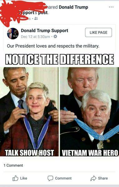 barack obama medal on ellen degeneres trump medal fake news