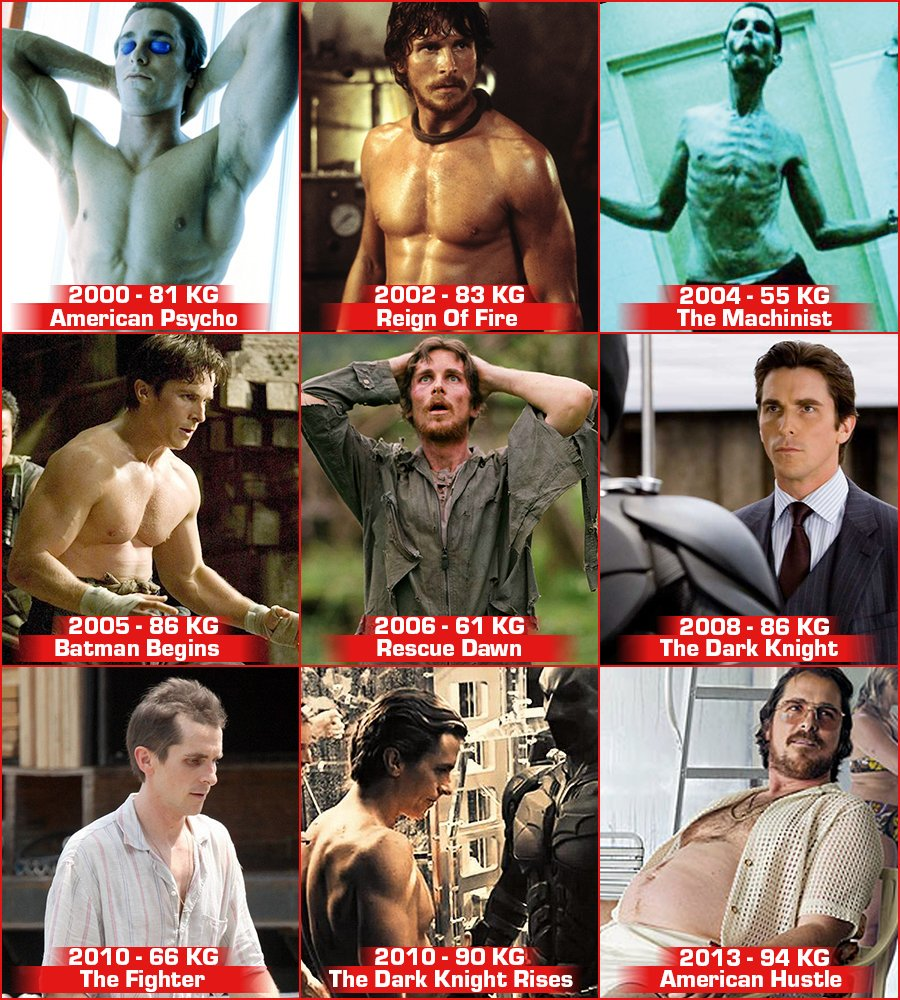 christian bales changing body in movies