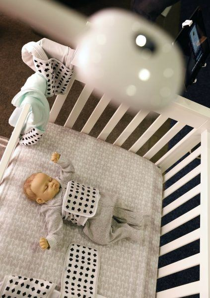 nanit plus baby breathing monitor mounted on crib ces 2019