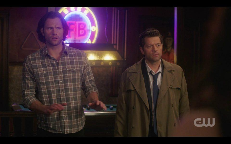 sam winchester with castiel and dean michael spn 1410