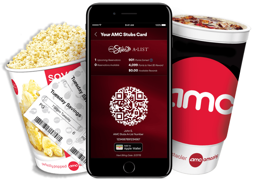 AMC Stubs A List theater subscription service with popcorn and soda discounts