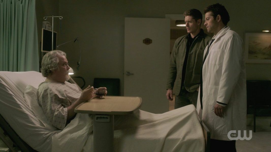 cas dean winchester with donatello in hospital spn 1412