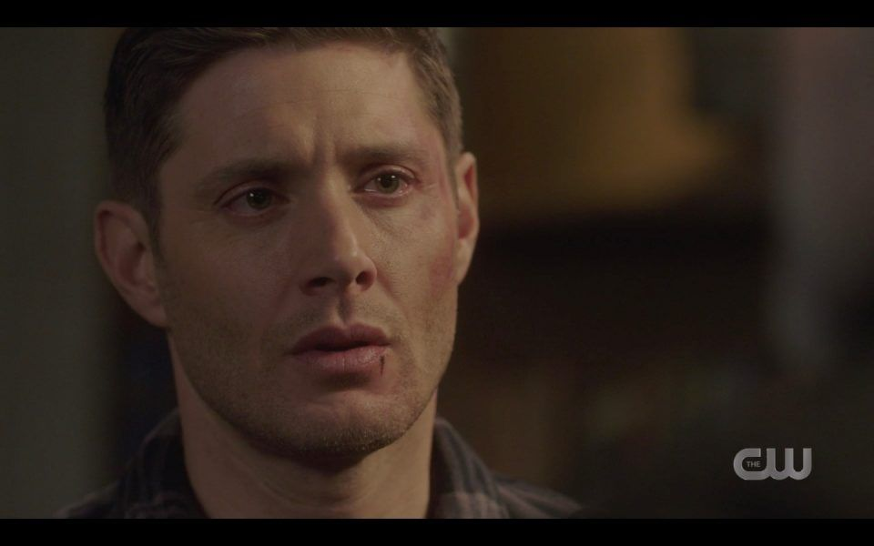 dean winchester beat up face sad with john daddy lebanon