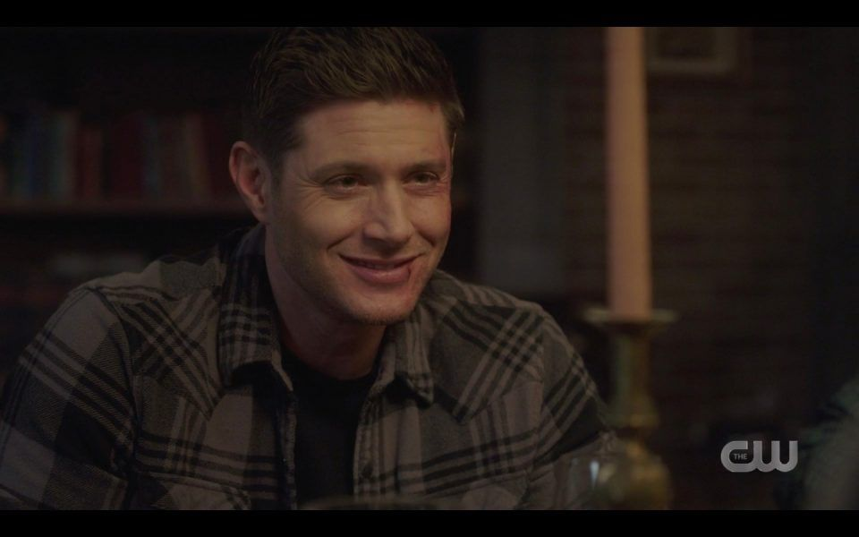dean winchester mouth full smiling at john mary spn 1413