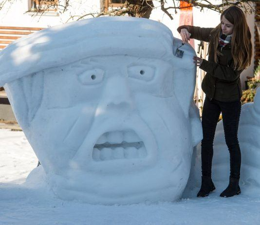 donald trump snowman during cold weather climate change debate