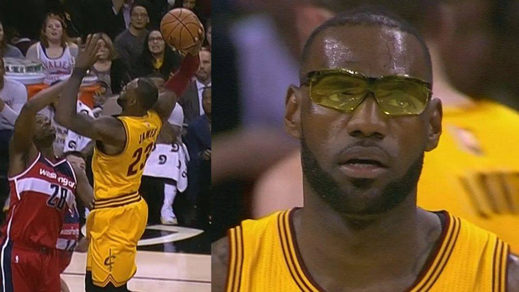 lebron james wearing glasses during nba game