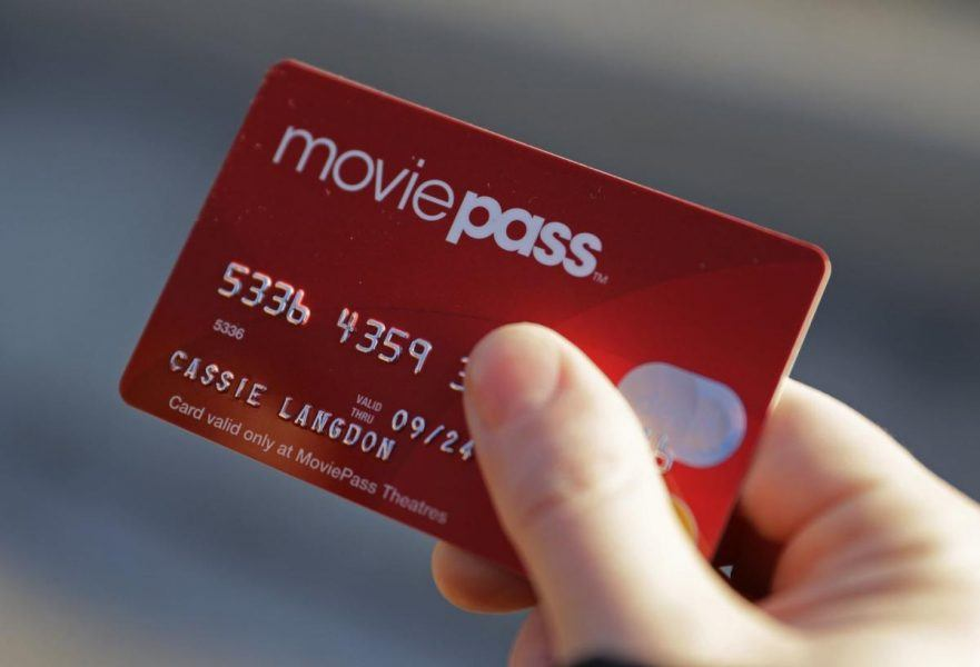 MoviePass red card subscription services held in hand of customer