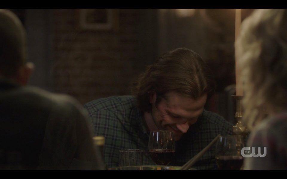 sam winchester laughing with dean john mary at dinner spn lebanon