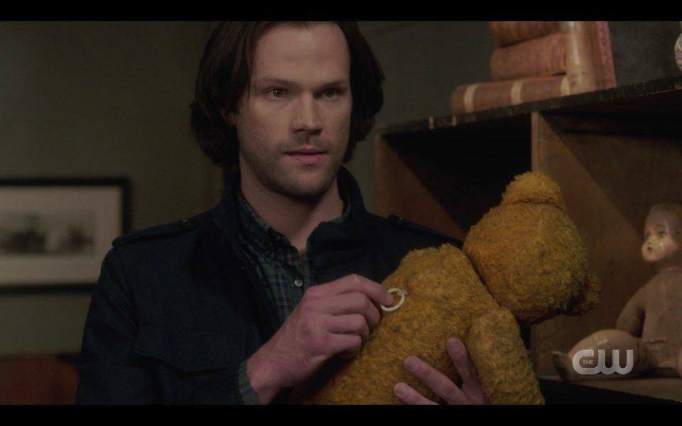 sam winchester with occult teddy bear spn 1413