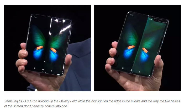 samsung galaxy fold held up at conference