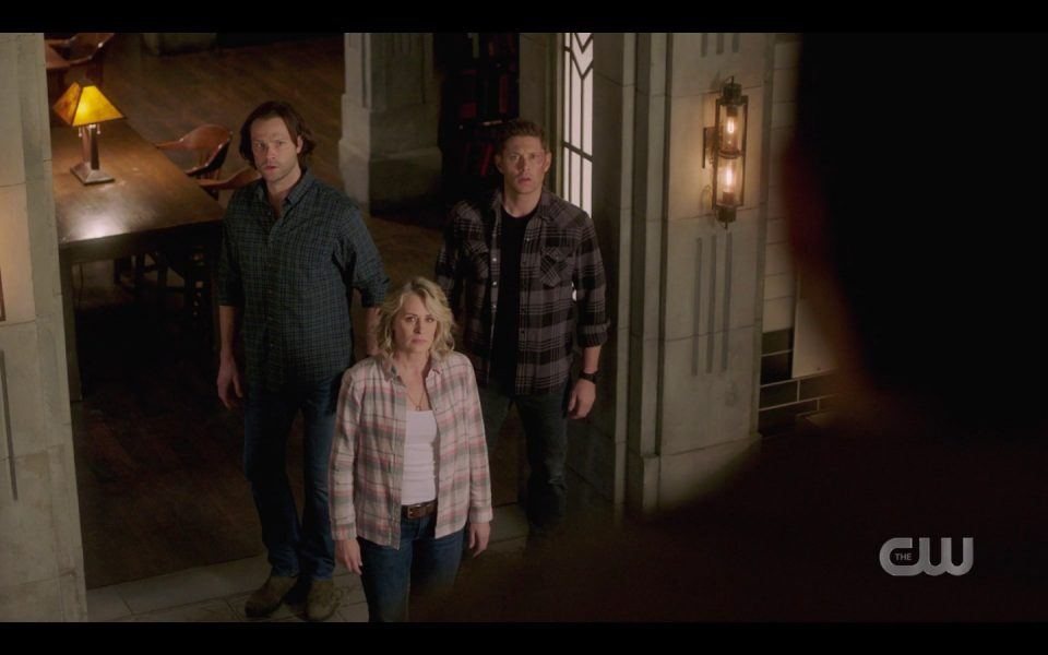 spn 1413 mary dean sam winchester looking up at castiel on stairs