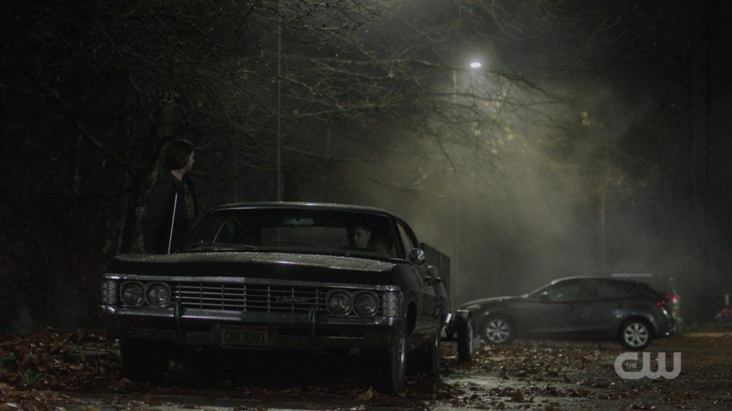 supernatural baby impala dean and castiel get in