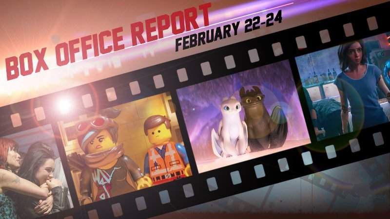 box office report for how to train your dragon, alita and lego movie 2
