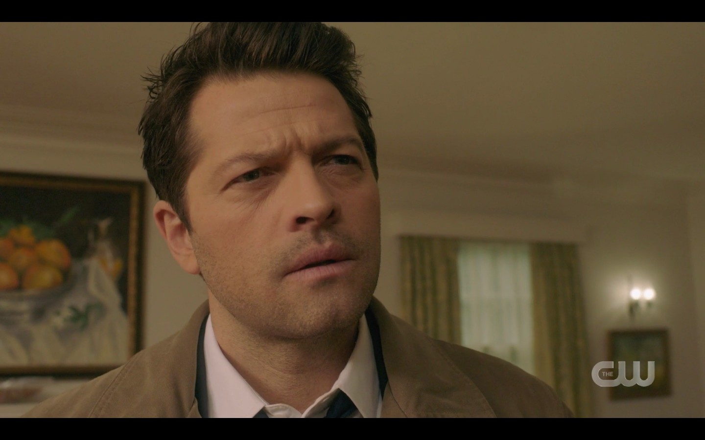 Castiel confused by Justin Sam with manbun SPN 1415
