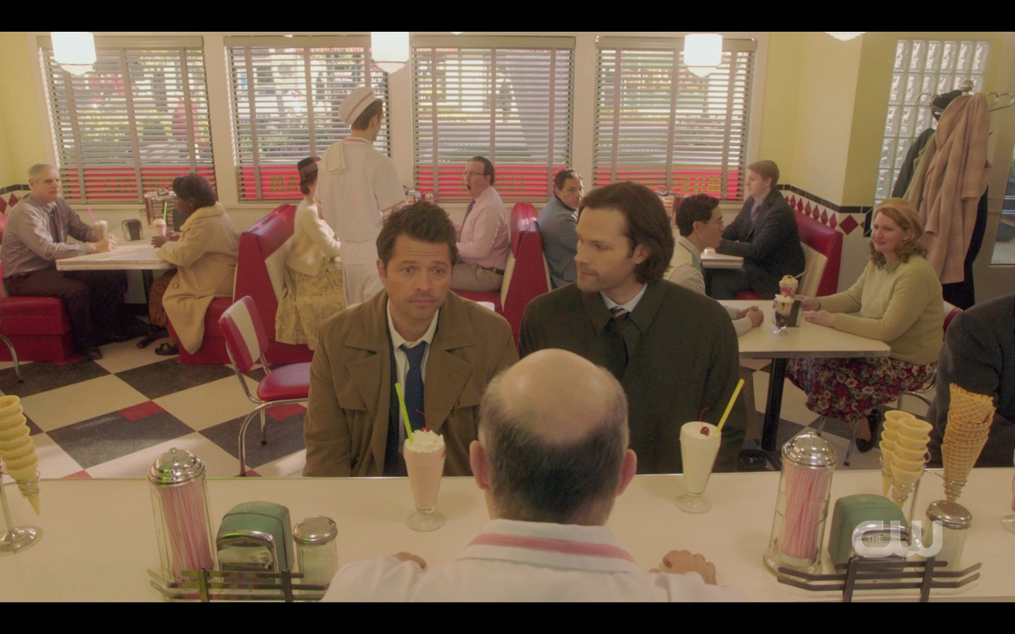 Castiel with Sam Winchester at diner milkshakes SPN Peace of Mind