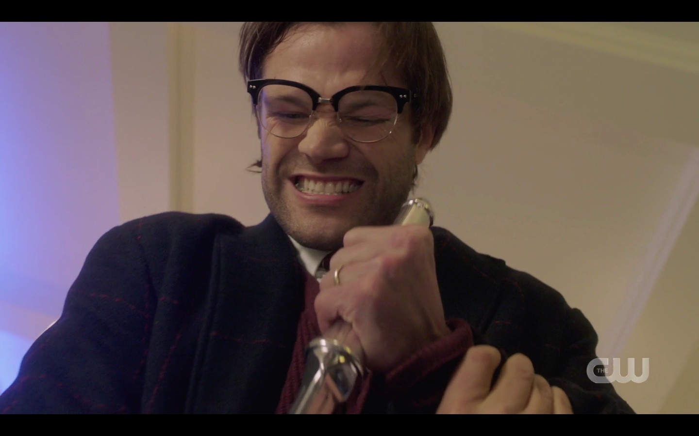 Geeky Sam Winchester trying to stab Castiel SPN Peace of Mind