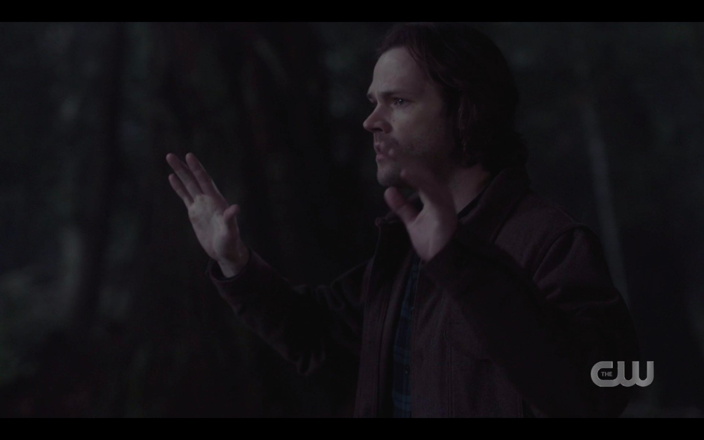 Sam Winchester at gunpoint from Sheriff SPN 1416