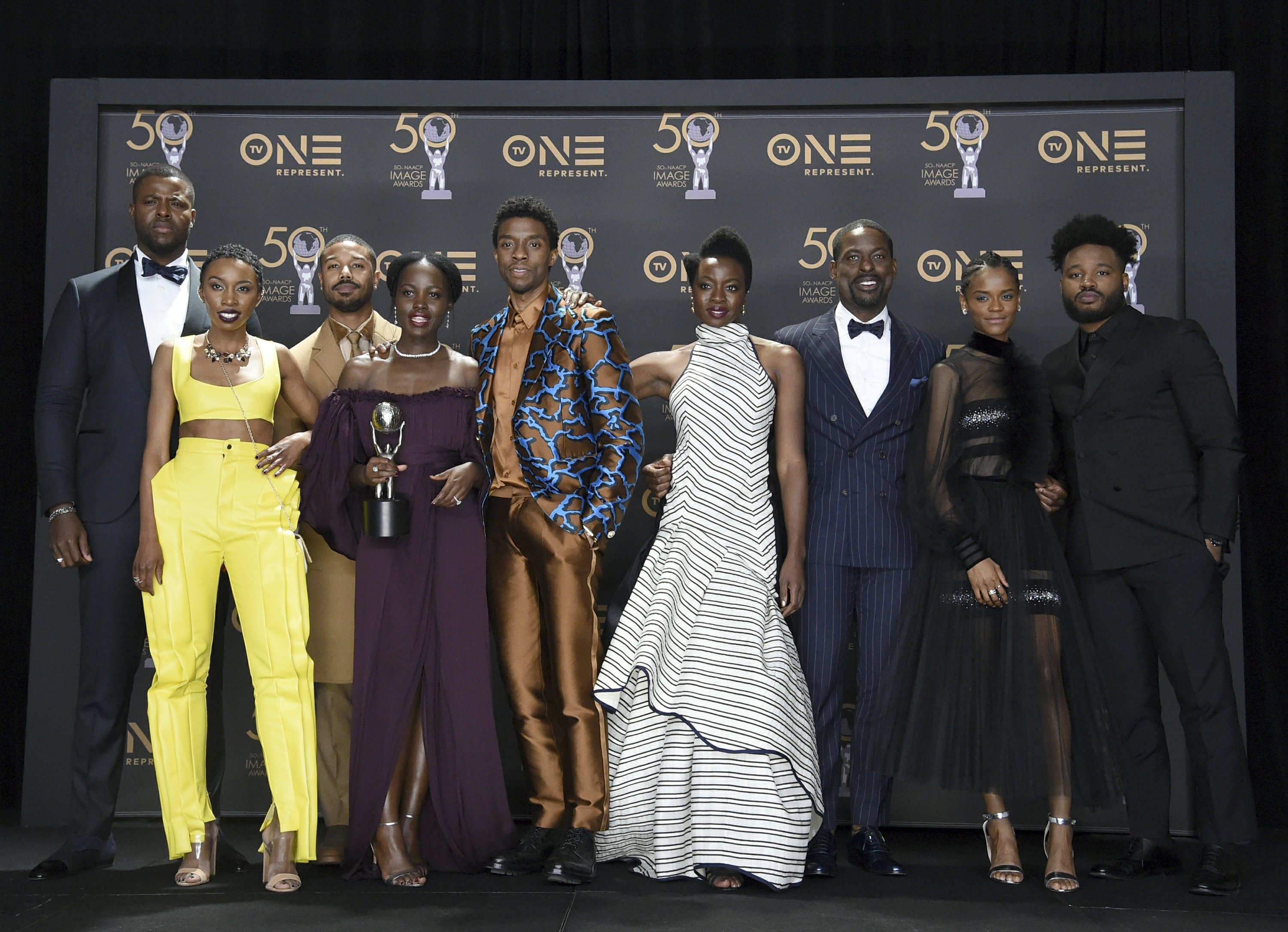 Black Panther cast accepting top awards at 50th annual NAACP awards.
